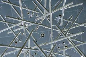 Buckminster Fuller's Sixty Strut Tensegrity Sphere' (in atrium of Engineering Centers Building, UW-Madison) Photo: Jeff Miller