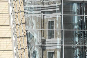 Mechanical Engineering Building reflected in the atrium windows of Engineering Centers Building, UW-Madison Photo: Michael Forster Rothbart