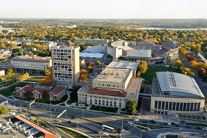 Aerial view of UW Madison College of Engineering Campus Photo: Jeff Miller